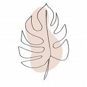 Contour Line Drawing Leaf Of Monstera.  Modern Minimalism Art, Aesthetic Contour. Pastel Scandinavia poster