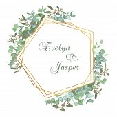 Greeting Festive Flyer, Holiday Card, Vector. Elegant Floral, Greenery, Gold Collection. Bouquet Of  poster