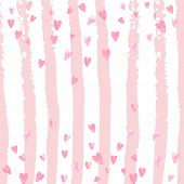 Pink Glitter Confetti With Hearts On Pink Stripes. Falling Sequins With Shimmer And Sparkles. Design poster