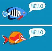 Reef Fishes Say Hello. Colorful Exotic Aquarium Fauna Vector Illustration. Marine Ecosystem, Ocean U poster