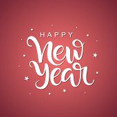 Happy New Year Script Lettering On White Background. Handwritten Design Element For Card, Poster, Ba poster