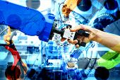 Handshake Of Robotic And Human Join For Teamwork On Smart Factory With Double Exposure Image Of Indu poster