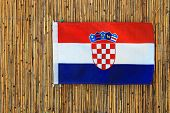 Red White Blue Flag Of Croatia With Croatian Coat Of Arms Day Of State, Independence, Day Of Victory poster