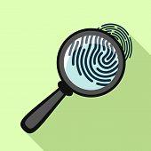 Fingerprint Under Magnifying Glass Icon. Flat Illustration Of Fingerprint Under Magnifying Glass Vec poster