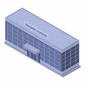 Railway Building Station Icon. Isometric Of Railway Building Station Vector Icon For Web Design Isol poster