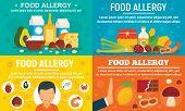 Food Allergy Banner Set. Flat Illustration Of Food Allergy Vector Banner Set For Web Design poster