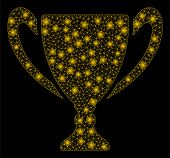Flare Mesh Golden Cup With Glow Effect. Abstract Illuminated Model Of Golden Cup Icon. Shiny Wire Ca poster