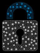 Glowing Mesh Lock With Sparkle Effect. Abstract Illuminated Model Of Lock Icon. Shiny Wire Frame Pol poster