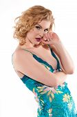 foto of camisole  - Beautiful young blonde in a teal camisole - JPG