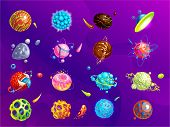 Space Planets, Asteroid, Moon, Fantastic World Game Vector Cartoon Icons. Color Asteroid And Planet, poster