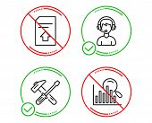Do Or Stop. Upload File, Hammer Tool And Consultant Icons Simple Set. Search Sign. Load Document, Re poster
