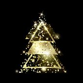 A Golden Geometric Christmas Tree Made Of Triangles. Yellow Golden Glitter. For Xmas And Happy New Y poster