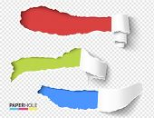 Set Of Vector Blank Rip Off Paper Scroll Pieces With Torn Hole Edges On A Transparent Background For poster