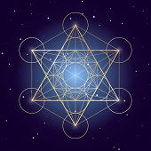 Metatron Cube Symbol On A Starry Sky, Elements Of Sacred Geometry poster