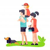 Family Father, Mother And Son Play With Best Friend Pet Character Dog Or Puppy Illustration. Family  poster