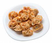 Dumplings On A White  Plate Isolated On White Background. Dumplings In Tomato Sauce. Dumplings Top S poster