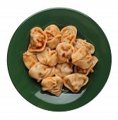 Dumplings On A Green Plate Isolated On White Background. Dumplings In Tomato Sauce. Dumplings Top Vi poster