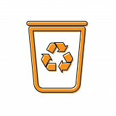 Orange Recycle Bin With Recycle Symbol Icon Isolated On White Background. Trash Can Icon. Garbage Bi poster