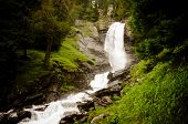 pic of rabbi  - Water drop of the so called Saent waterfalls formed by the river Rabbies in the Italian Dolomites - JPG