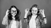 Girls Funny Big Eyeglasses Cheerful Smile. Birthday Party. Happy Childhood. Sincere Cheerful Kids Sh poster