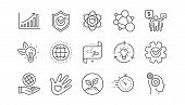 Core Values Line Icons. Integrity, Target Purpose And Strategy. Helping Hand, Social Responsibility, poster