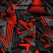 Abstract Seamless Grunge Pattern. Urban Art Texture With Neon Lines, Triangles, Chaotic Brush Stroke poster