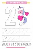 Funny Children Flashcard Number Two. Unicorn With Hearts Learning To Count And To Write. Coloring Pr poster