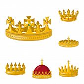 Bitmap Design Of Monarchy And Gold Logo. Set Of Monarchy And Heraldic Stock Symbol For Web. poster