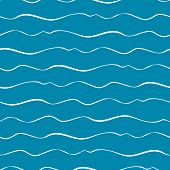 Abstract Hand Drawn Doodle Sea Waves. Seamless Geometric Vector Pattern On Ocean Blue Background. Gr poster