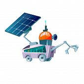 Space Explorer For Planet Colonization Cartoon Vector. Futuristic Technology, Sci-fi Construction, S poster