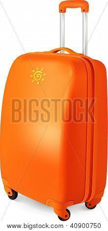 Orange vector travelling baggage suitcase