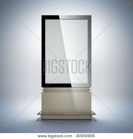 Blank vertical billboard. 3D illustration of blank template layout empty metal billboard with black frame for insert advertising banner.