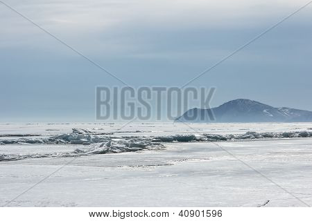 Empty Ice Landscape On Baikal In The Winter