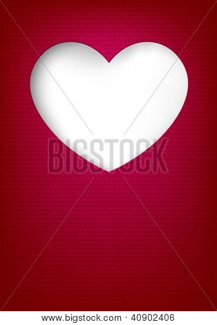 Vector illustration of love greeting card. Notched out heart. Ribbed paper. Eps10.