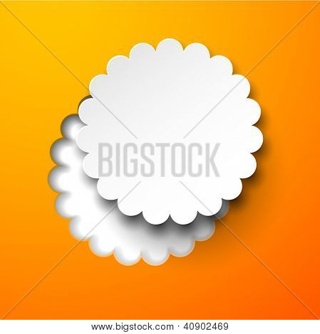 Vector illustration of white paper notched out round flower. Eps10.