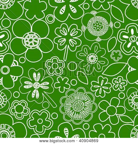 Green floral seamless pattern with shamrocks, vector