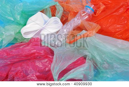 blue wrinkled plastic bag for background