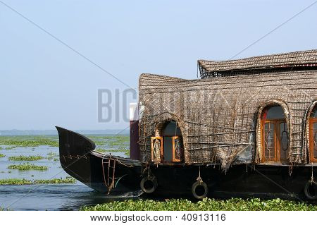 House Boat In The Kerala (india) Backwaters. Used To Carry Rice In The Olden Days