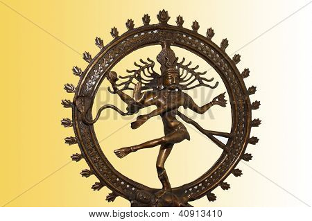 Indian Hindu God Shiva Nataraja - Lord Of Dance Statue Isolated On Color Background