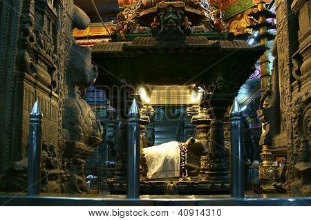 Inside Of Meenakshi Hindu Temple In Madurai, Tamil Nadu, South India.  It Is A Twin Temple