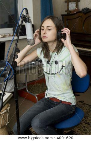 Girl Enjoy Singing In Microphone / Wearing Headphones