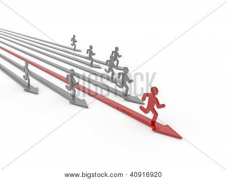 Leader of competition. Concept 3D illustration.