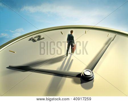 Businessman walking on a clock face. Digital illustration.