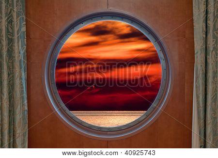 Sunset Through Porthole