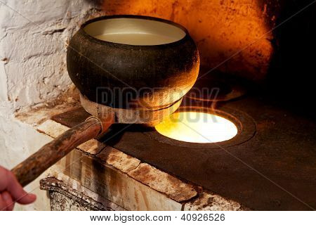 Russian Oven And Old Cast-iron Pot