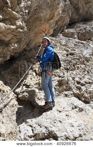 Female Hiker On Via Ferrata