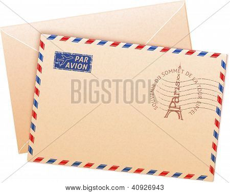 Old french envelope with Eiffel tour