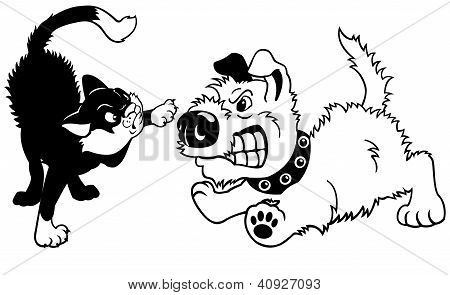 Angry Cartoon Cat And Dog Black White