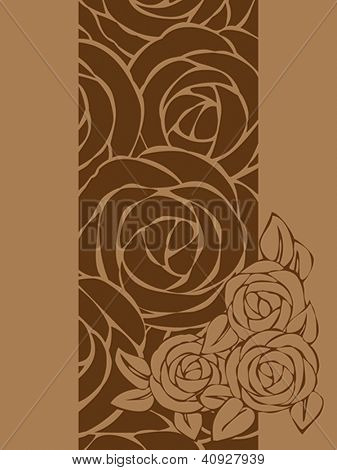 Card template with roses. EVector format EPS 8, CMYK.