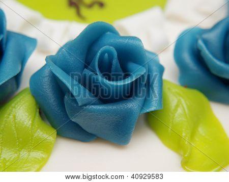 Baptism Cake, White Sugar Paste, Blue Roses